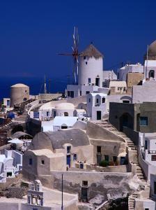 Traditional Village Houses, Stairs and Windmill, Oia, Santorini Island, Greece by Diana Mayfield