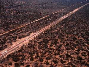 Trans-Continental Railway Line Crossing Outback, Australia by Diana Mayfield