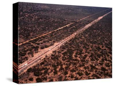 Trans-Continental Railway Line Crossing Outback, Australia