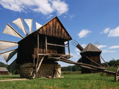 Windmill from Constanta County at Museum of Folk Civilisation in Astra, Sibiu, Romania,