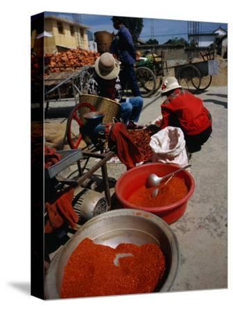 Women from Small Patou Island Grind Chilies to Powder, Dali, Yunnan, China