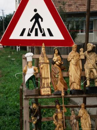 Wooden Sculptures and Statues for Sale by Roadside, Cluj-Napoca, Cluj, Romania,