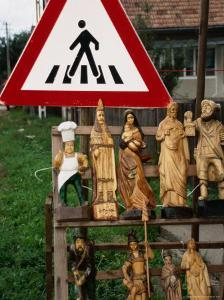 Wooden Sculptures and Statues for Sale by Roadside, Cluj-Napoca, Cluj, Romania, by Diana Mayfield