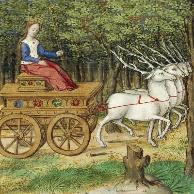 Diana on a Carriage Drawn by Four Deer, Miniature from the Lives of Famous Women by Antoine Dufour--Giclee Print