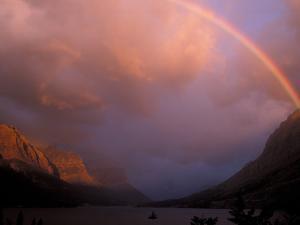 Rainbow and Stormy Sunrise Over St. Mary Lake, Glacier National Park, Montana, USA by Diane Johnson
