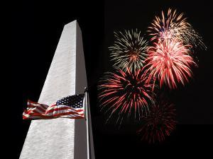 Collage of the Washington Monument, American Flag, and Fireworks by Diane Miller