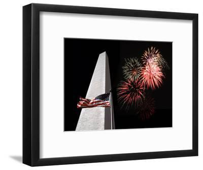 Collage of the Washington Monument, American Flag, and Fireworks