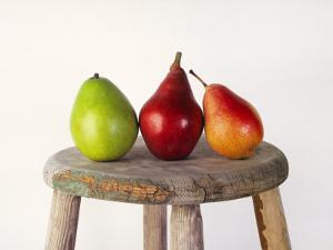 Still Life of 3 Pears on a Milk Stool by Diane Miller