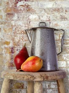 Still Life of Two Pears and a Coffee Pot by Diane Miller