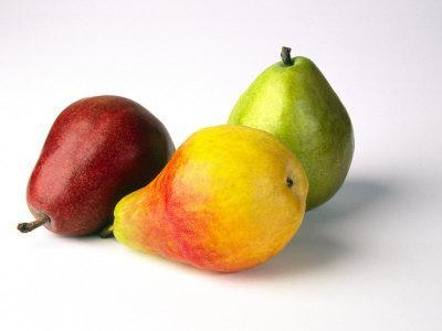 Three Pears, Red, Yellow and Green, on White Background