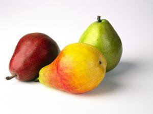 Three Pears, Red, Yellow and Green, on White Background by Diane Miller