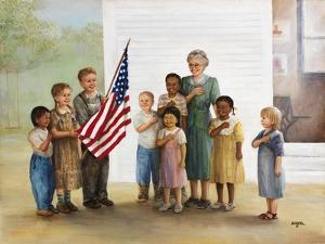 Children Doing Pledge of Allegiance by Dianne Dengel