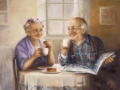 Elderl Couple Eating Breakfast