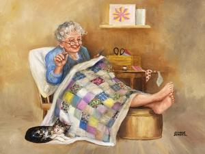 Elderly Woman Quilting by Dianne Dengel