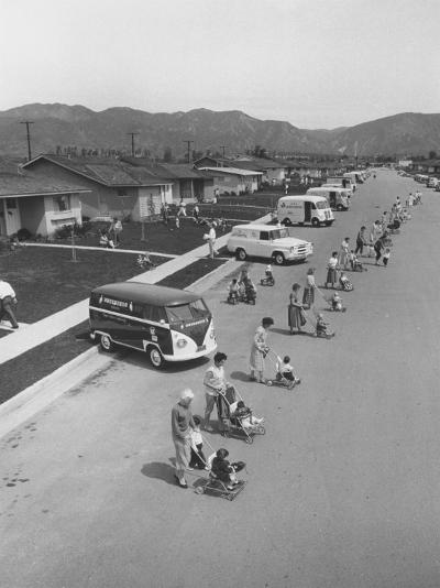 Diaper Service Trucks and Mothers with Babies They Service Line Street-Ralph Crane-Photographic Print