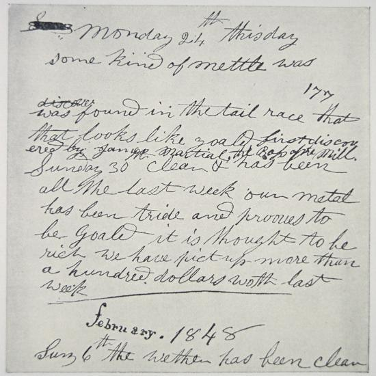 Diary Entry of Gold Prospector, 1848-American School-Giclee Print