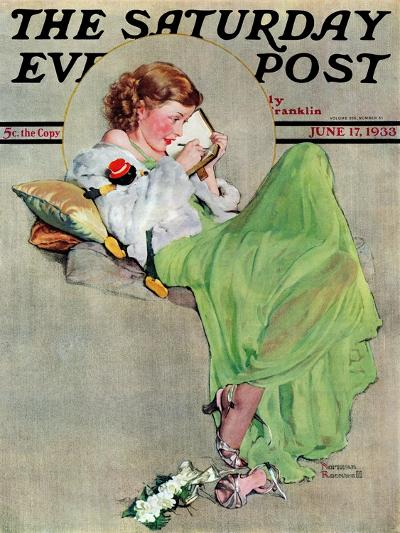 """""""Diary"""" Saturday Evening Post Cover, June 17,1933-Norman Rockwell-Giclee Print"""