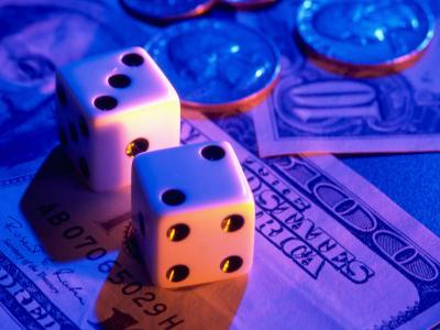 Dice and Money on Blue Background-Jim McGuire-Photographic Print