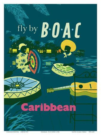 Vintage Travel Print Poster art Painting BOAC CARRIBEAN green
