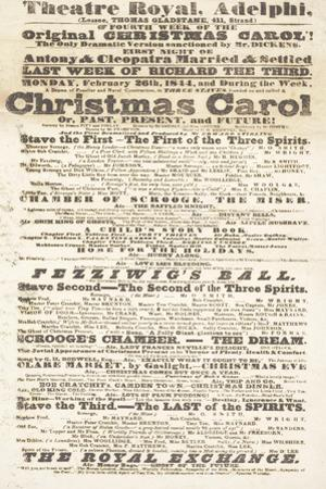 Dickens Playbill: 'A Christmas Carol' at Adelphi Theatre Royal, February 26th 1814
