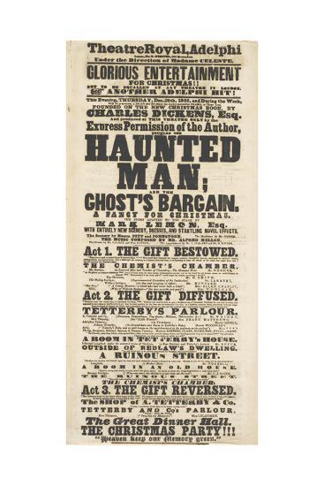Dickens Playbill: 'The Haunted Man', at Adelphi Theatre Royal, 28th December 1848--Giclee Print