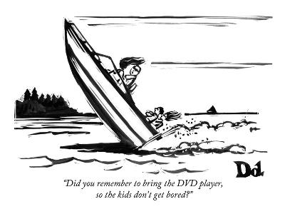 """""""Did you remember to bring the DVD player, so the kids don't get bored?"""" - New Yorker Cartoon-Drew Dernavich-Premium Giclee Print"""