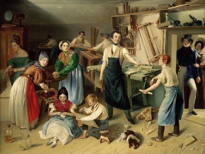 Die Fleißige Tischlerfamilie (The Diligent Carpenter Family)-Johann Baptist Reiter-Giclee Print