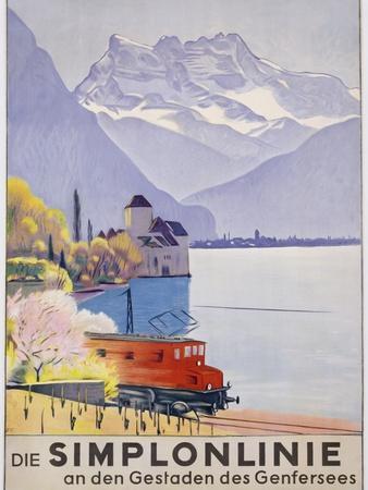 Die Simplonlinie an Den Gestaden Des Genfersees', Poster Advertising Rail Travel around Lake Geneva-Emil Cardinaux-Premium Giclee Print