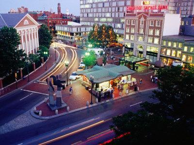 Overlooking Illuminated Harvard Square at Dusk