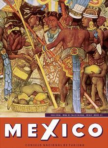 Mexico - Aztec Indians - Detail from Mural - National Palace (Palacio Nacional) - Mexico City by Diego Rivera