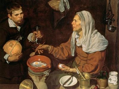 An Old Woman Cooking Eggs, 1618 by Diego Velazquez