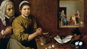 Kitchen Scene with Christ in the House of Martha and Mary, circa 1618 by Diego Velazquez