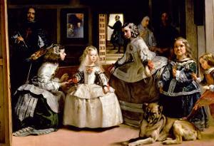 Las Meninas, Detail of the Lower Half of the Family of Philip IV (1605-65) of Spain, 1656 by Diego Velazquez
