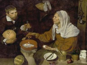 Old Woman Cooking Eggs, 1618 by Diego Velazquez