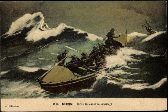 Dieppe, Sortie Du Canot De Sauvetage, Rettungsboot--Giclee Print