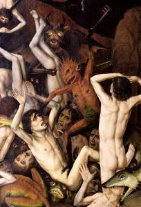 Hell, Detail of a Demon Hitting the Damned, circa 1450 by Dieric Bouts
