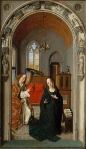 Polyptych of the Childhood of Christ, Panel with Annunciation by Dieric Bouts