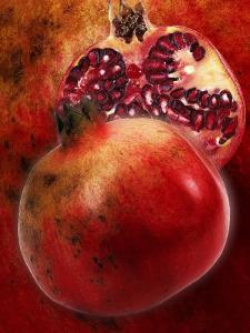 Artistic Still Life with Whole and Half Pomegranate by Dieter Heinemann