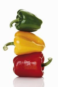 One Red, One Yellow and One Green Pepper, Stacked by Dieter Heinemann