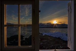 Sunrise Seeing Through Window, Reinefjorden, Moskenes, Lofoten, Norway by Dieter Meyrl