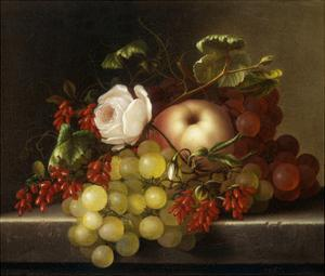 Still Life with Peach, Grapes and Rosehips by Dietrich Adelheid