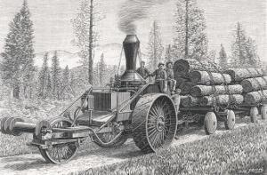Sturdy Three-Wheeled Steam- Powered Traction Engine Used in the Timber Industry California by Dietrich