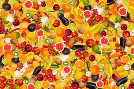 Different Types Of Fruit And Vegetables As Background, Colorful- pasiphae-Art Print