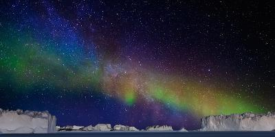 Digital Composite - Aurora Borealis or Northern Lights in Iceland and Icebergs in Greenland--Photographic Print