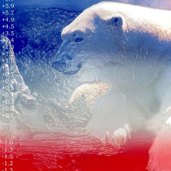 Digital Montage of a Polar Bear with Temperature Readings--Photographic Print