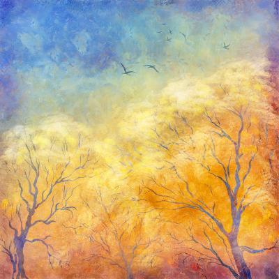 Digital Oil Painting Autumn Trees, Flying Birds-kostins-Art Print