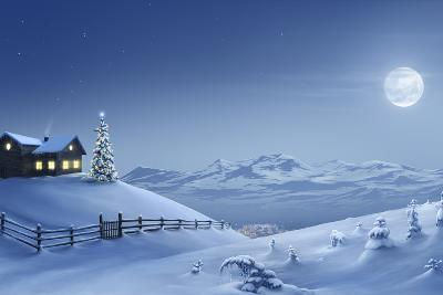 Digital Painting of a Silent Christmas Night in the Snow Covered Mountains.-Inga Nielsen-Photographic Print