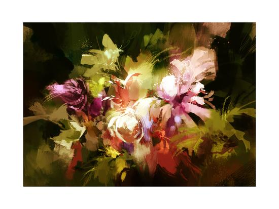 Digital Painting of Abstract Flowers,Illustration-Tithi Luadthong-Art Print