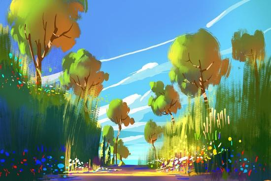 Digital Painting of Colorful Forest and Trees,Nature Green Wood Backgrounds,Illustration-Tithi Luadthong-Art Print