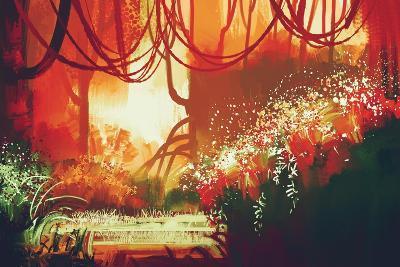 Digital Painting of Fantasy Autumn Forest,Illustration-Tithi Luadthong-Art Print